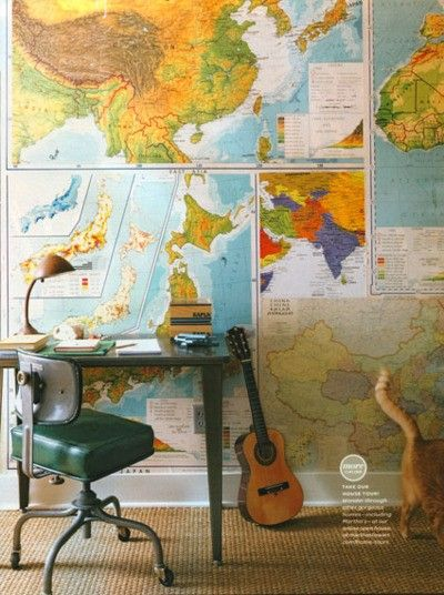 Map wall may need to laminate the maps home sweet home for this room repurposed vintage roll up maps were used as wallpaper the desk found at an office supply salvage sale is placed against the wall for gumiabroncs Image collections
