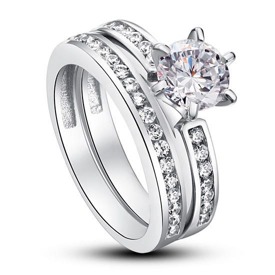 1 Carat Round Cut CZ Cubic Zirconia Sterling Silver Ring Wedding Set by CubicZirconiaRings, $44.95