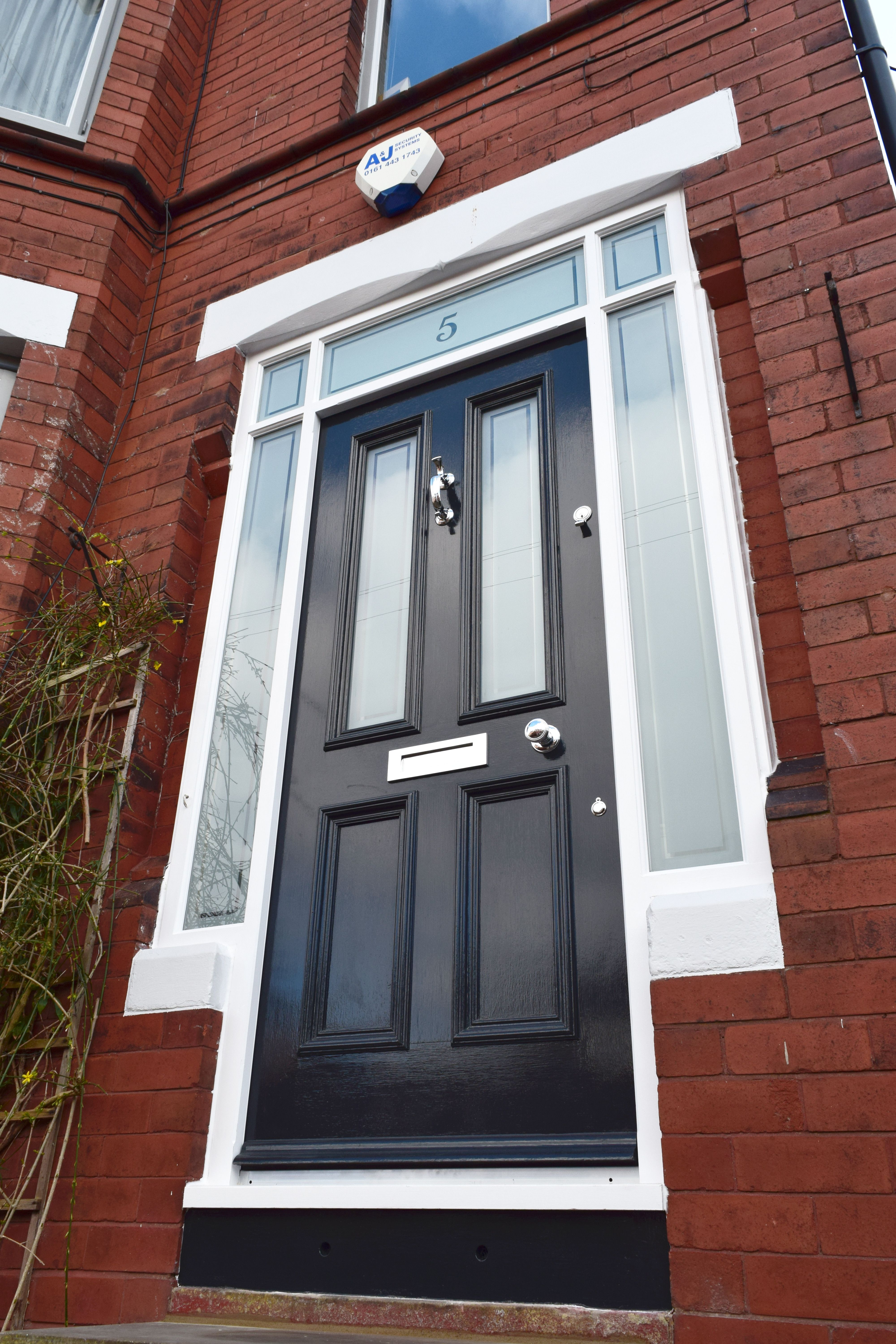 Beau Grand Victorian Front Door In Frame With Surrounding Etched Lights In  Didsbury.
