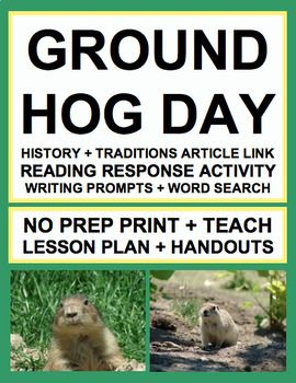 GROUNDHOG DAY activities for kids: NO PREP Lesson Plan & Student activities for GROUNDHOG DAY. groundhog day activities for students. Simply Print, Project & Teach this GROUNDHOG DAY!! #groundhogdaylesson