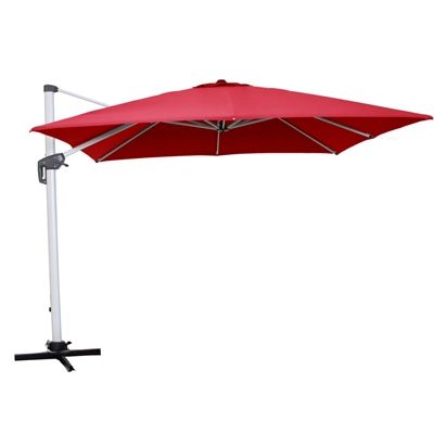allen + roth Collection Name Red Offset Patio Umbrella Base Included  (Common: 12-ft W x 9.5-ft L; Actual: 11.83-ft W x 9.66-ft L) - Allen + Roth Collection Name Red Offset Patio Umbrella Base Included