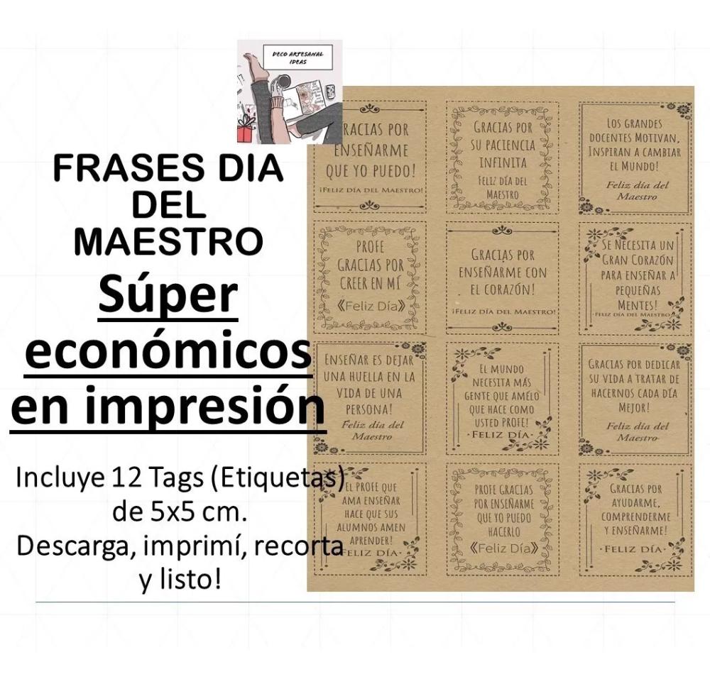 Imprimible Etiquetas Tarjetas Dia Del Maestro - Primer Pdf - $ 35,00 en Mercado Libre #diadelmaestro