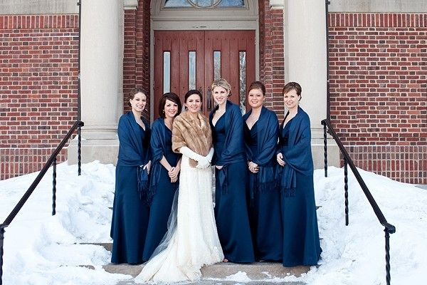 What It Looks Like When Bridesmaid Dresses Same Color As Shawls