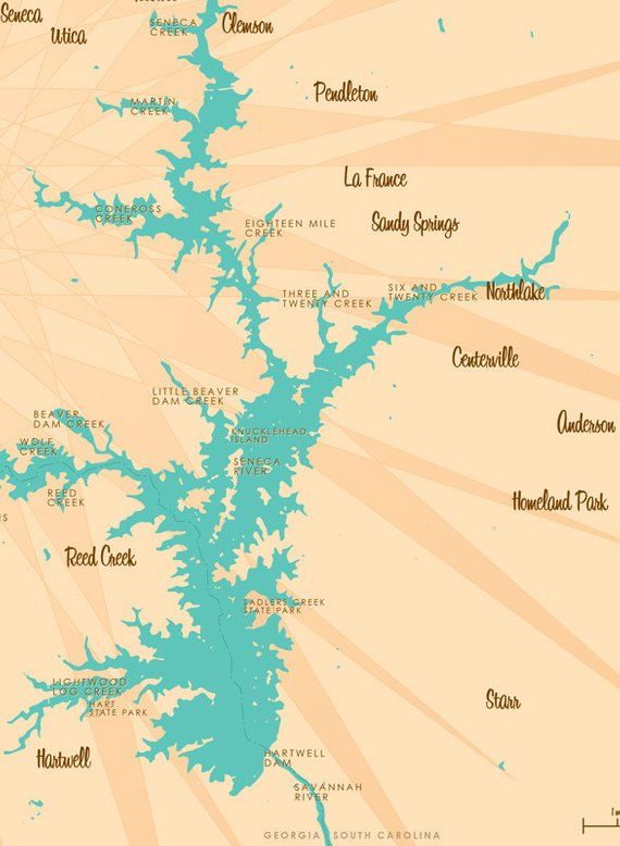 Lake Hartwell, GA & SC Map Art Print   Products in 2019 ... on topo map of squaw creek reservoir, antique map of lake hartwell, topo map of pinnacle mountain, topo map of ladue reservoir, topo map of owyhee reservoir, topo map of ross barnett reservoir, topo map of gibbons creek reservoir, topo map of athens, topo map of potomac river, topo map of united states, topo map of myrtle beach, topo map of aurora reservoir,