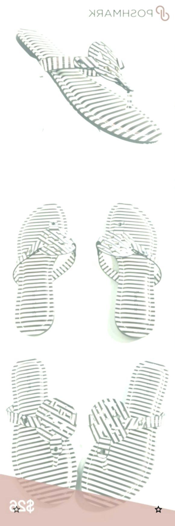 Pierre Dumas Black White Flip Flops Sandals Shoes Black and White Stripes Flip F