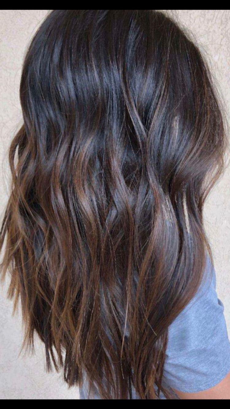 Full Balayage By Mary Joy Maryxjoy Com Brunette Asian Hair Black Hair Long Hair Beach Waves Olaplex Bal Asian Hair Long Hair Styles Black Hair Balayage
