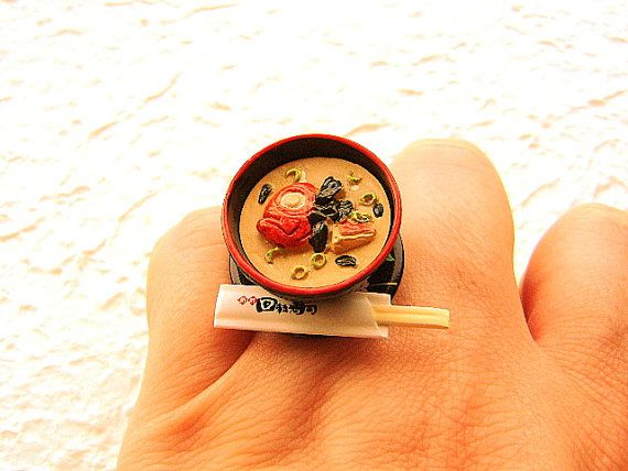 Kawaii Cute Japanese Food Ring Miso Soup by SouZouCreations, $12.50