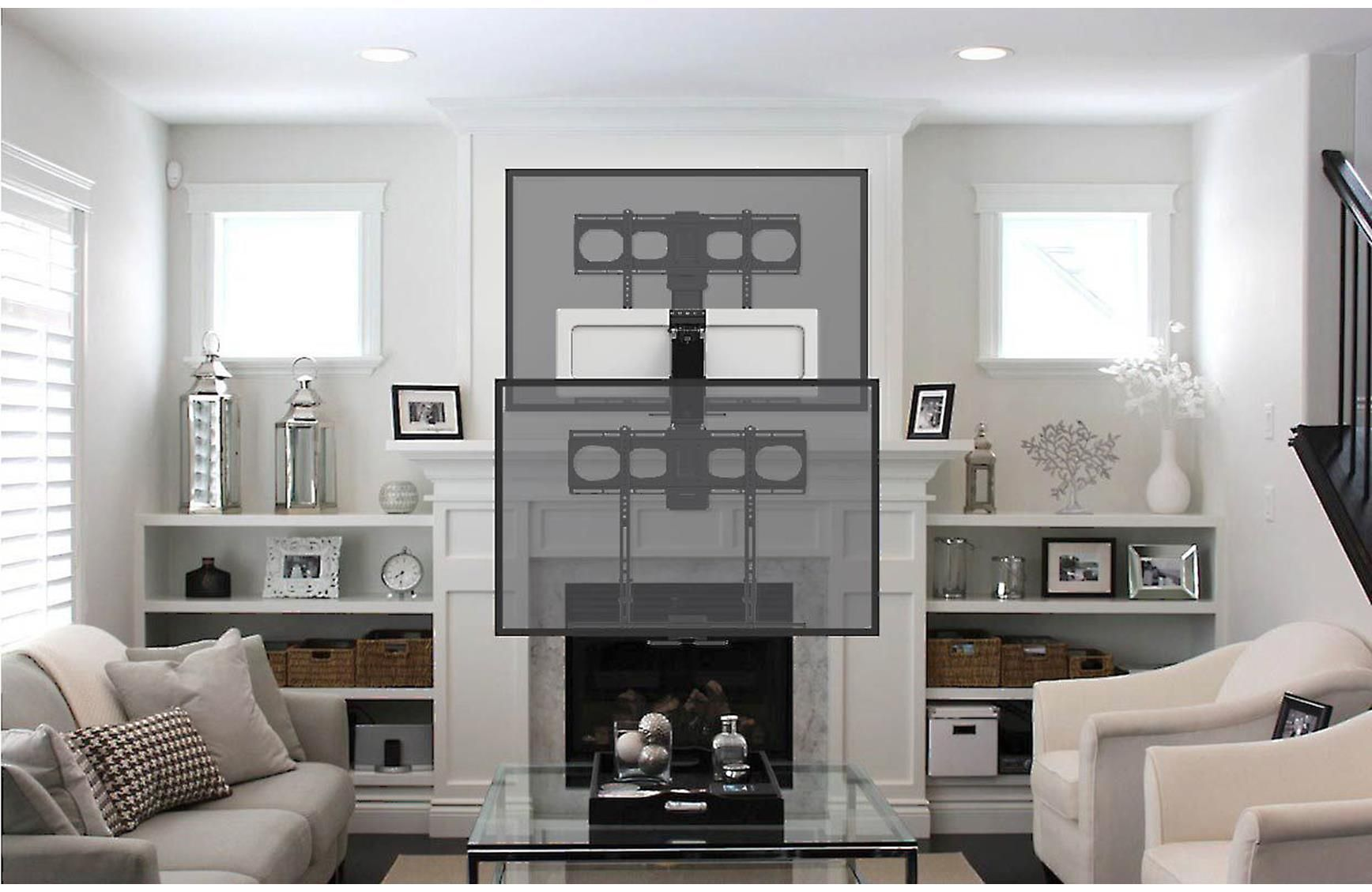 Mantelmount Mm540 Pull Down Tilt And Swivel Wall Mount For Tvs 44 80 At Crutchfield Mounted Tv Tv Mount Over Fireplace Home