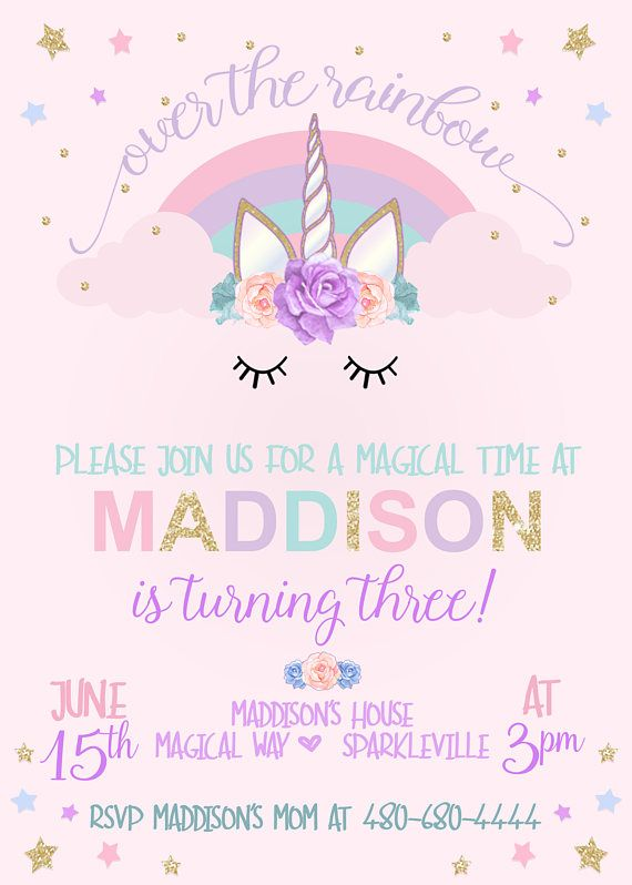 Unicorn Birthday Invitation Unicorn Party Invitation Rainbow