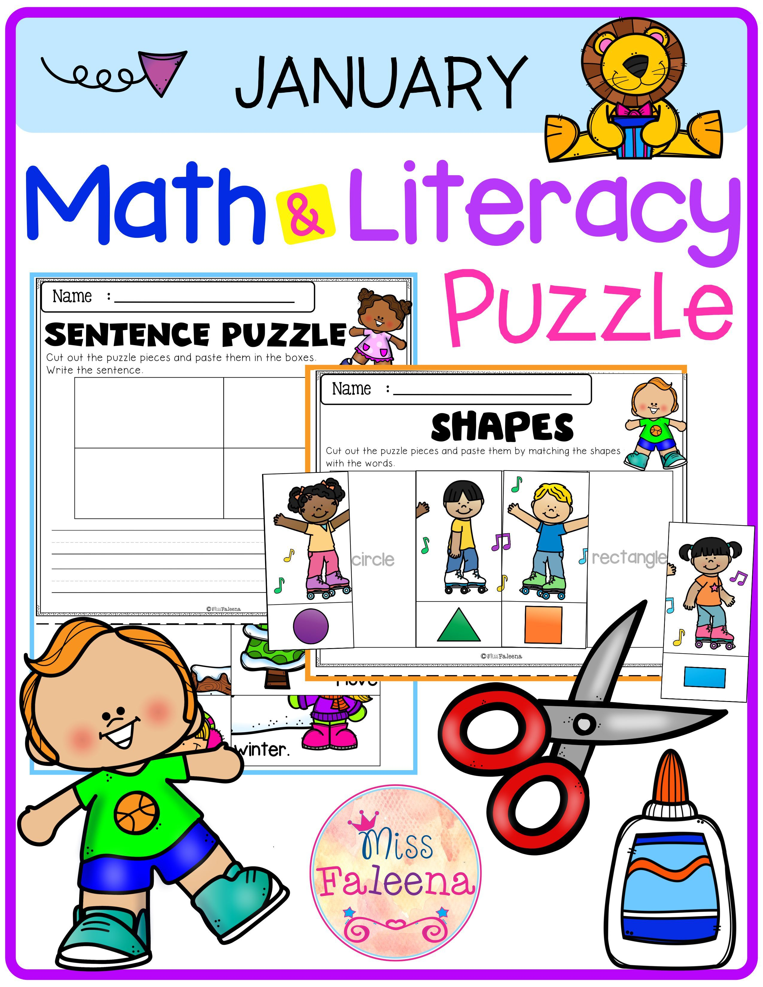 January Math And Literacy Puzzles