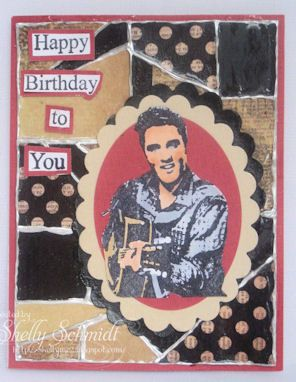 Happy Birthday Card Using TJ Faux Mosiac Technique Can You Hear Elvis Singing To LOL