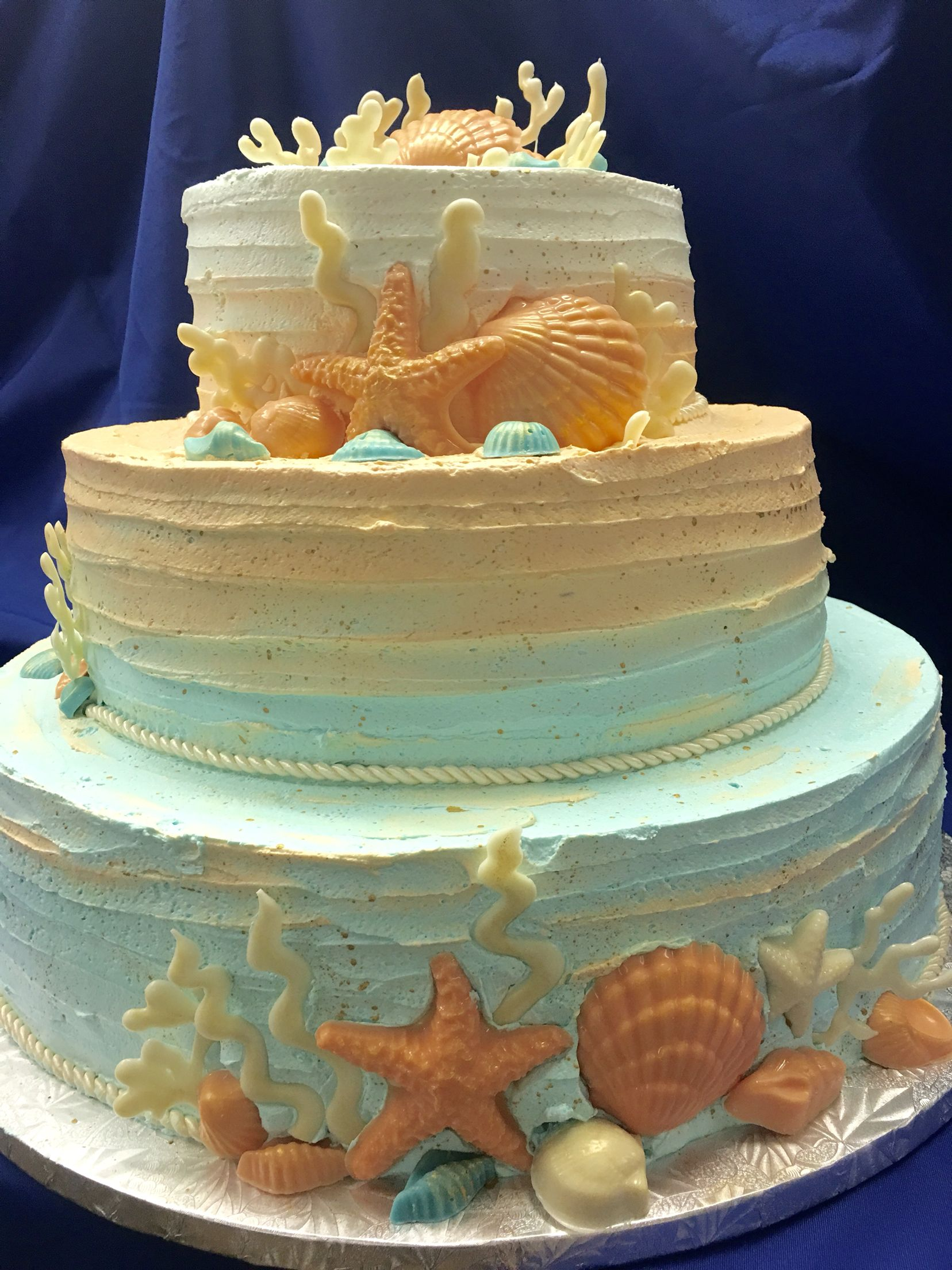 Rustic Beach Wedding Cake 84 Mueller S Bakery With Images