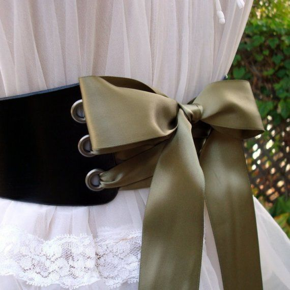 Wide Ribbon Laced Leather Fairytale Sweetheart Corset Belt $49 ContrivedtoCharm