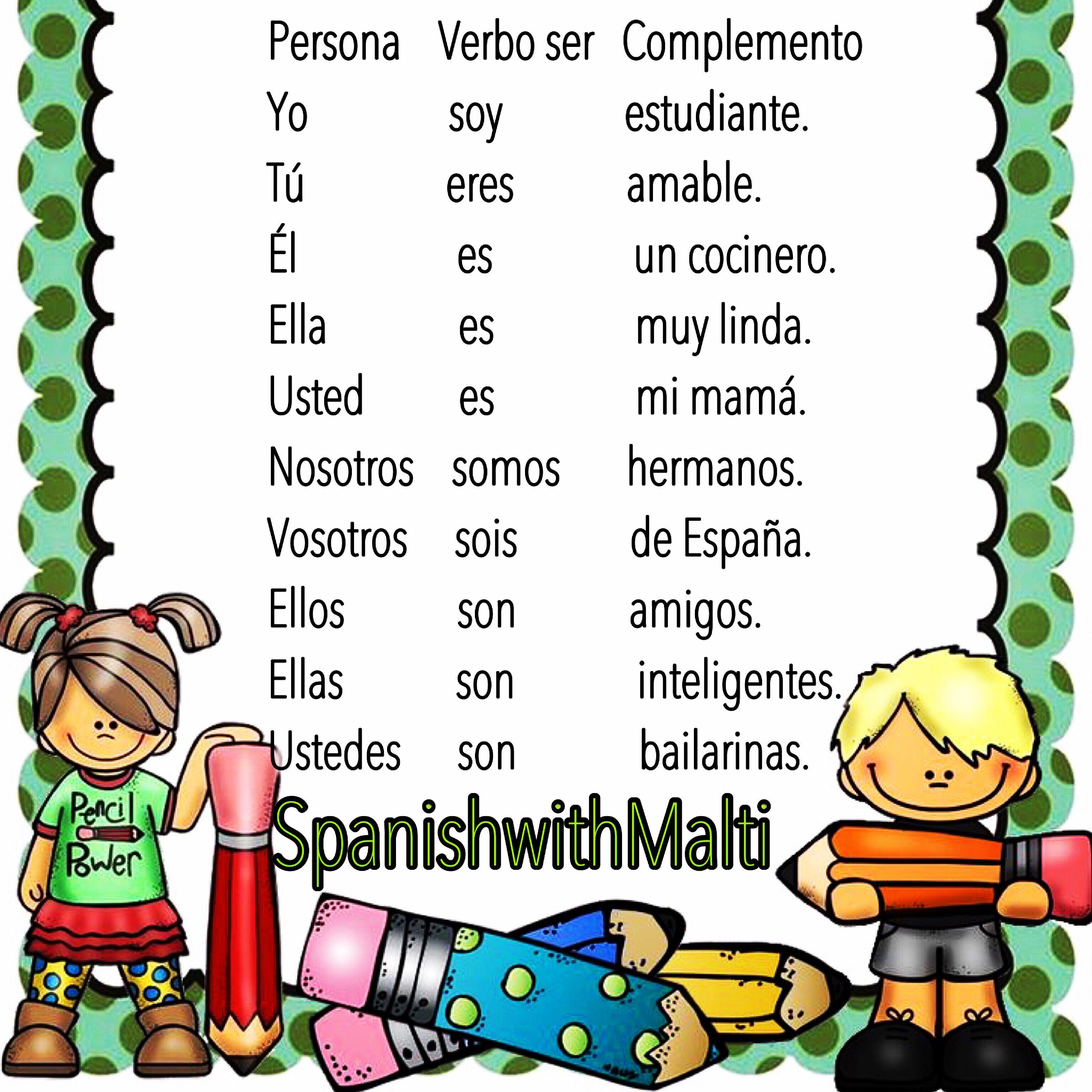 El Verbo Ser Spanish Verb Ser To Be