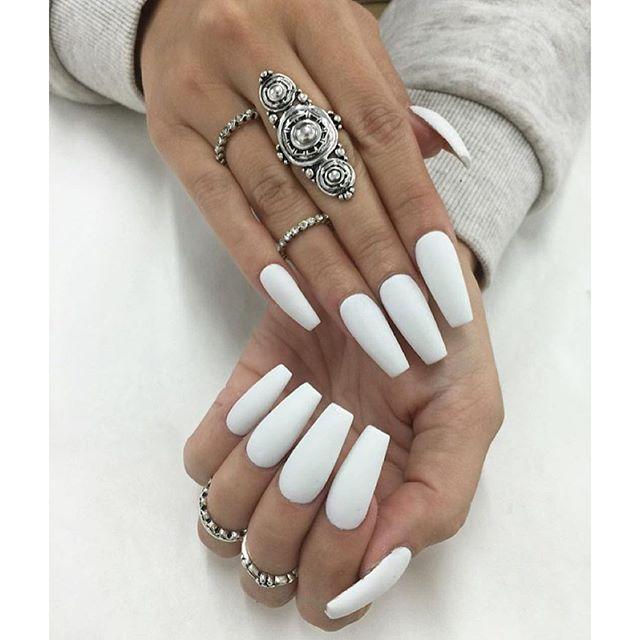 Pinterest Neissaluv Nails White Coffin Nails Matte