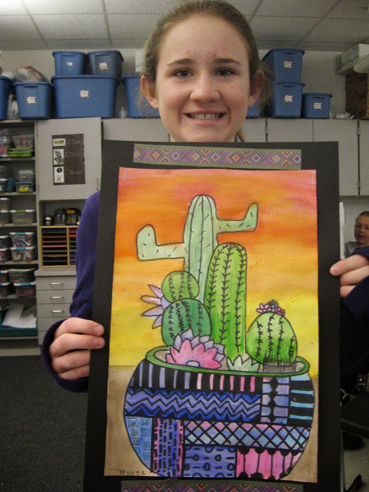 Jamestown Elementary Art Blog 5th Grade Mexican Cacti I Would Have Them Curve The Horizontal