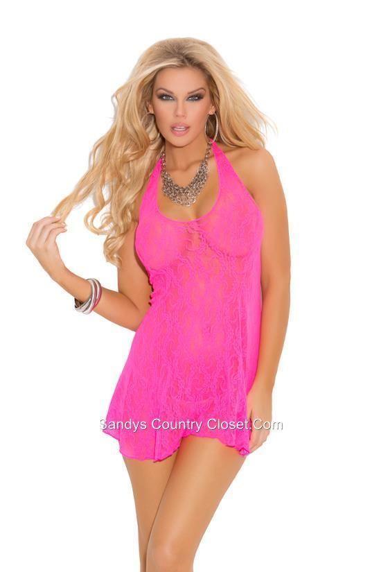 88d713560ad Crossdresser Sissy Soft Pink Stretch Lace Halter Mini Dress. Size 1X-3X   ElegantMoments  StretchLaceHalter  ClubwearPartyRomance