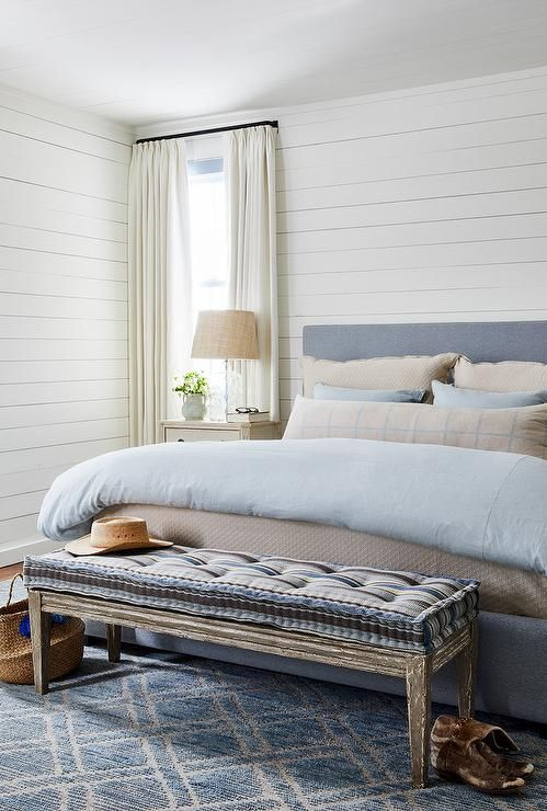 Tan And Blue Bedroom Colors Combined With Shiplap Walls Create A Charming Ambiance Rest
