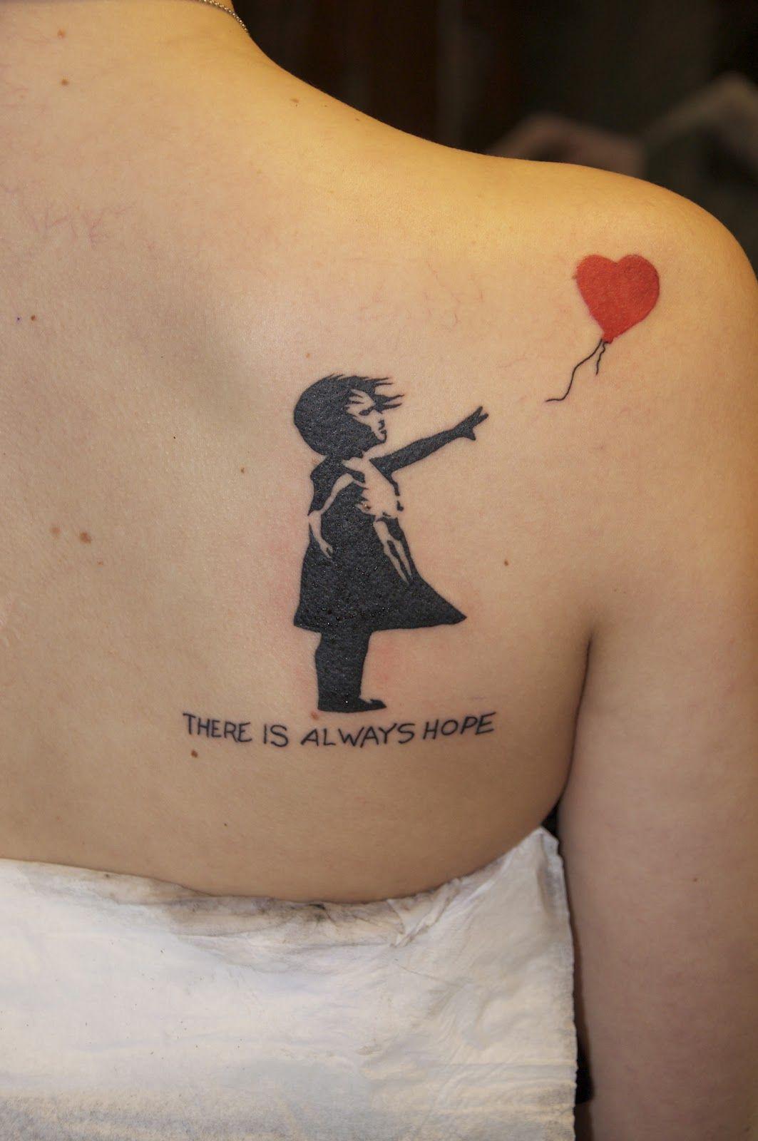5afbec39b plain pain tattoo: Tatuering: skuldra.Banksy.There is always hope ...