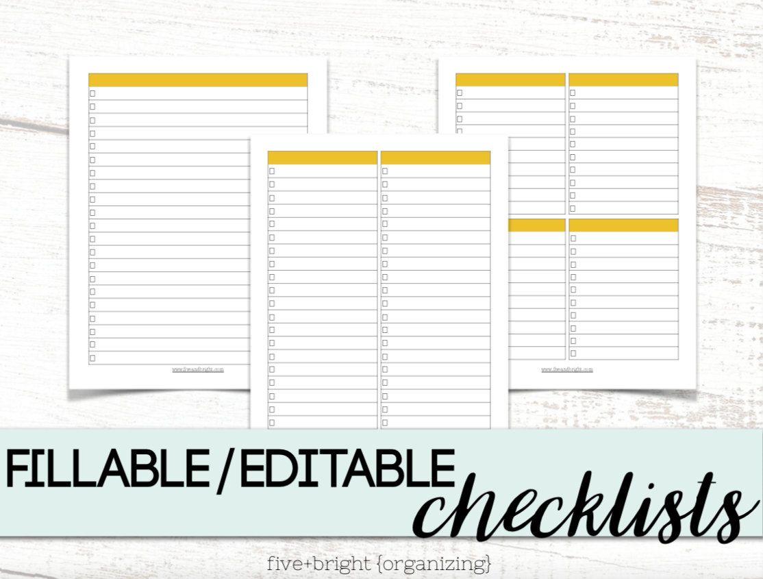Fillable printable checklists customizable todo list