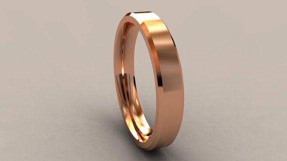 14kt Rose Gold 4mm Mens Wedding Band Beveled Egde Lines Etsy Mens Wedding Bands Pink Gold Wedding Rings Men S Wedding Ring