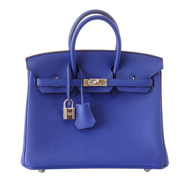 Hermes Birkin 25 Bag Blue Electric Vivid Jewel Togo Palladium in ... 7bc8449df2c15