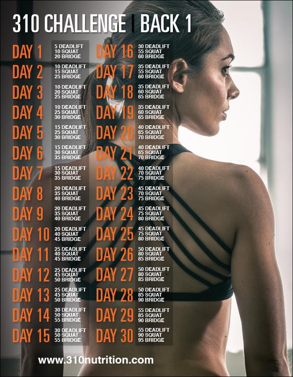 310 Challenge Back 1   Fitness   30 day fitness, Back