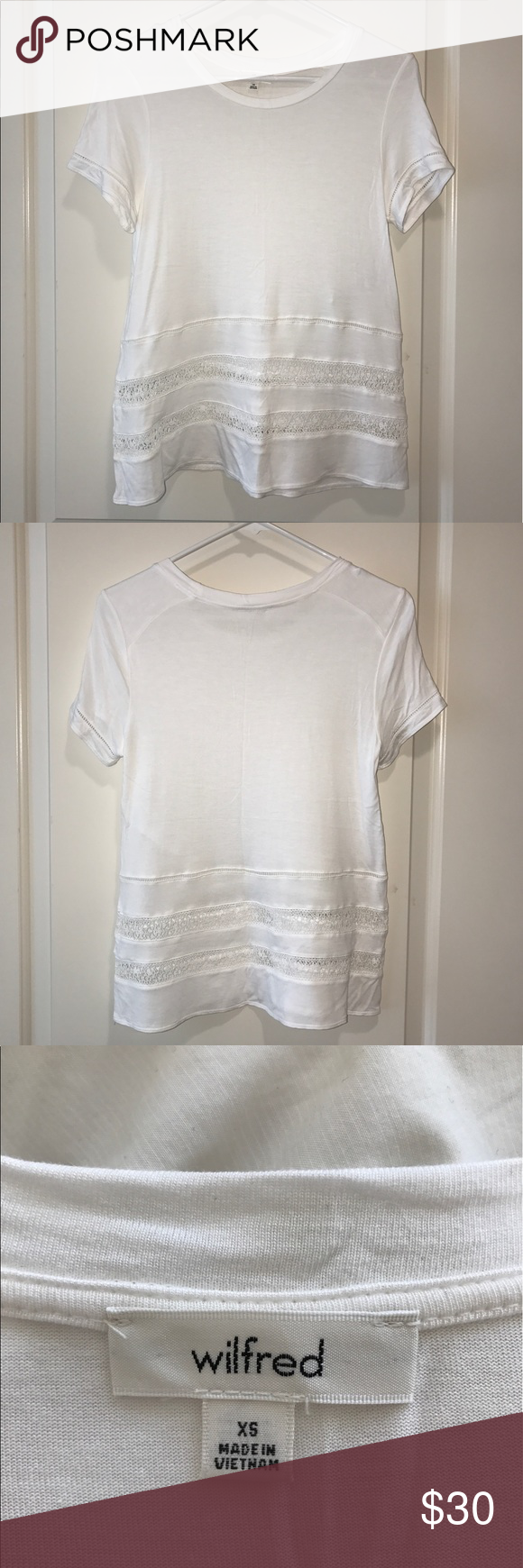 Aritzia Wilfred Rêve T-Shirt Aritzia Wilfred Rêve T-Shirt in White. Size XS (fits like a Small). Soft-to-the-touch jersey. Relaxed fit. Classic crewneck. Lace inserts along lower body and sleeves. Worn once. Aritzia Tops Tees - Short Sleeve