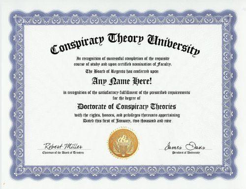 Conspiracy Theory Conspiracy Theorist Degree Custom Gag Diploma