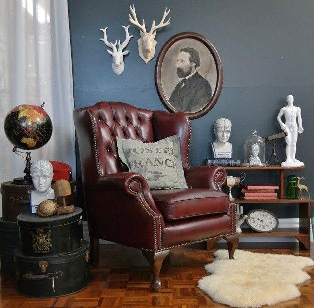 Gascoigne Wingback Chesterfield Leather Armchair Suit Vintage Industrial  Antique | EBay (Furniture Designs Colour Schemes