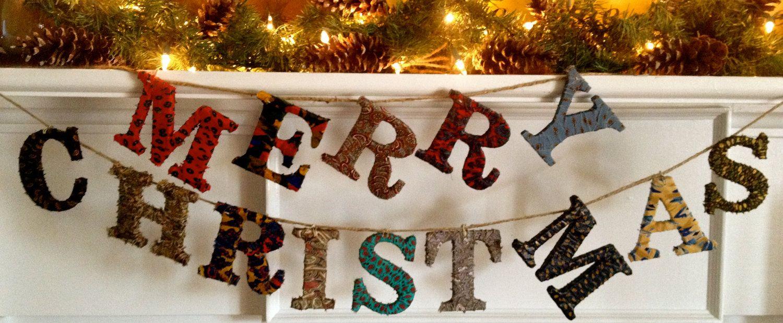 Merry Christmas garland. $40.00, via Etsy.
