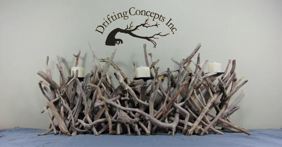 Sculptural Driftwood 3 Pillar Candle Holder, Mantle Sculpture #pictureplacemeant