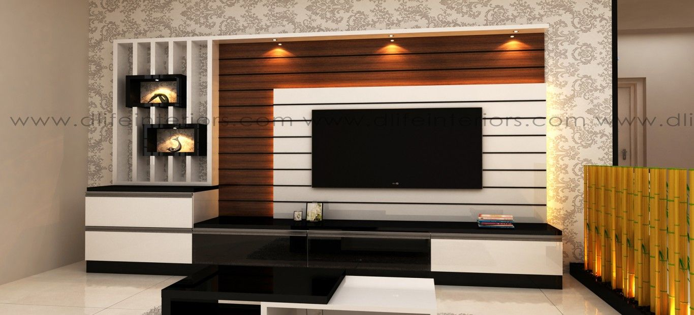 This Lcd Led Tv Display Unit Has A Simple Design With Frosty White
