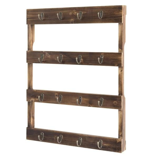 Wall Mounted Torched Wood Coffee Mug Rack