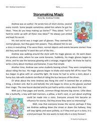 Fourth Grade Reading Comprehension Worksheet - Storymaking Magic - Have Fun Teaching