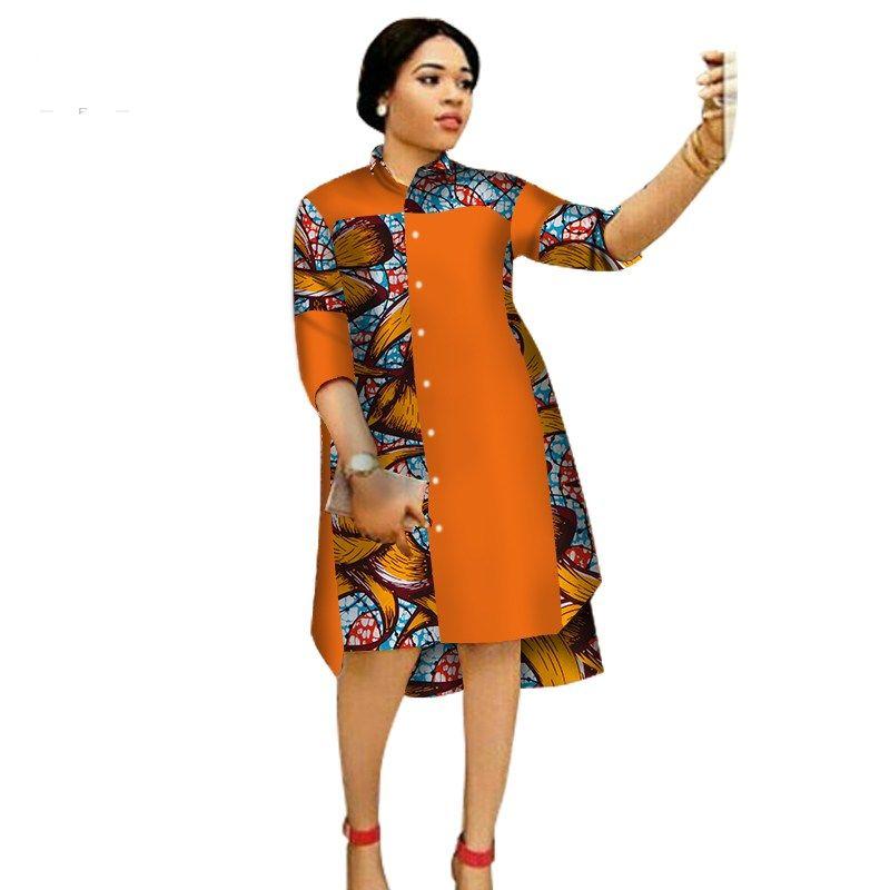 knee length modern african print dresses