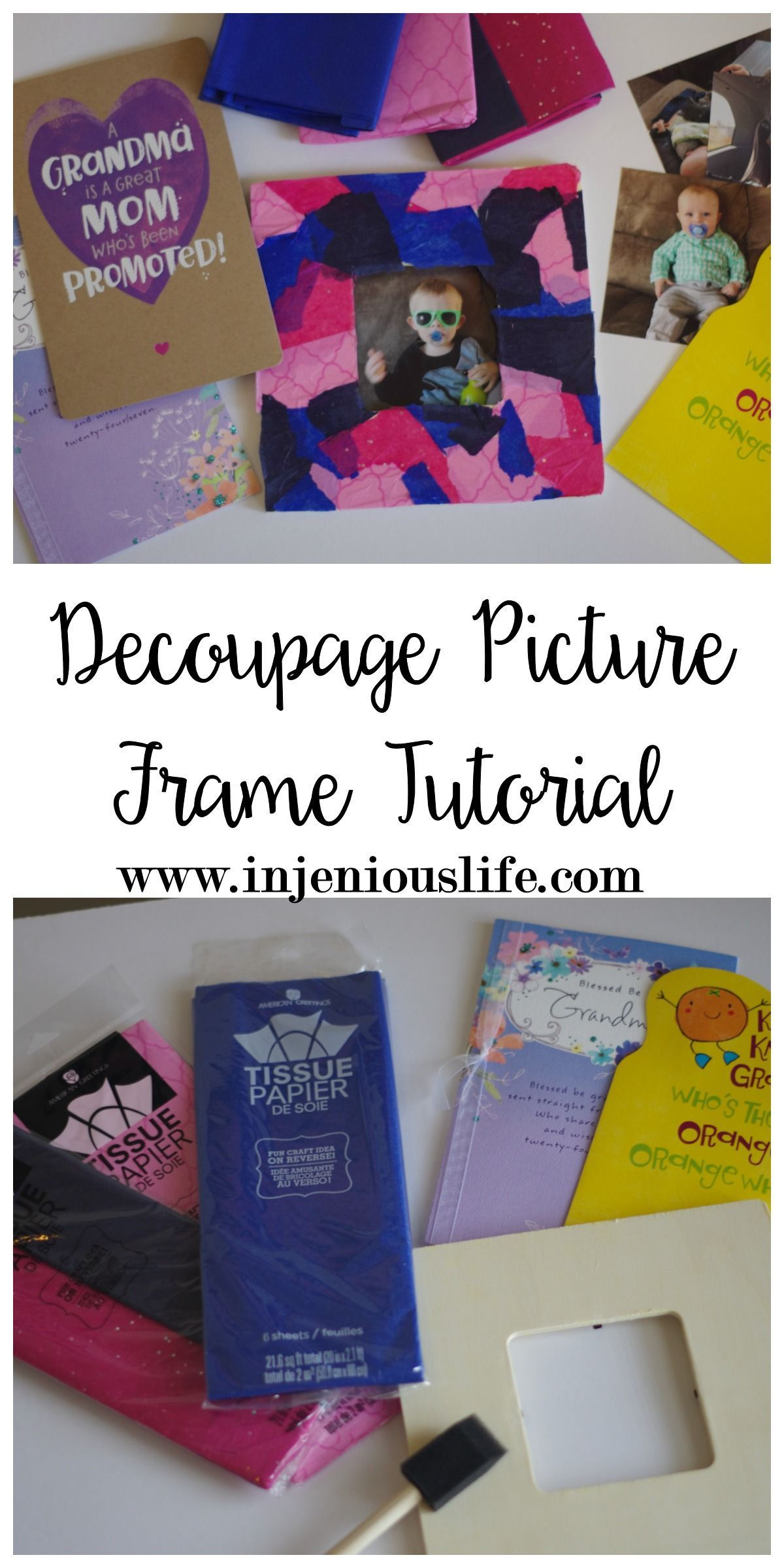 decoupage picture frame tutorial | pinterest | tissue paper
