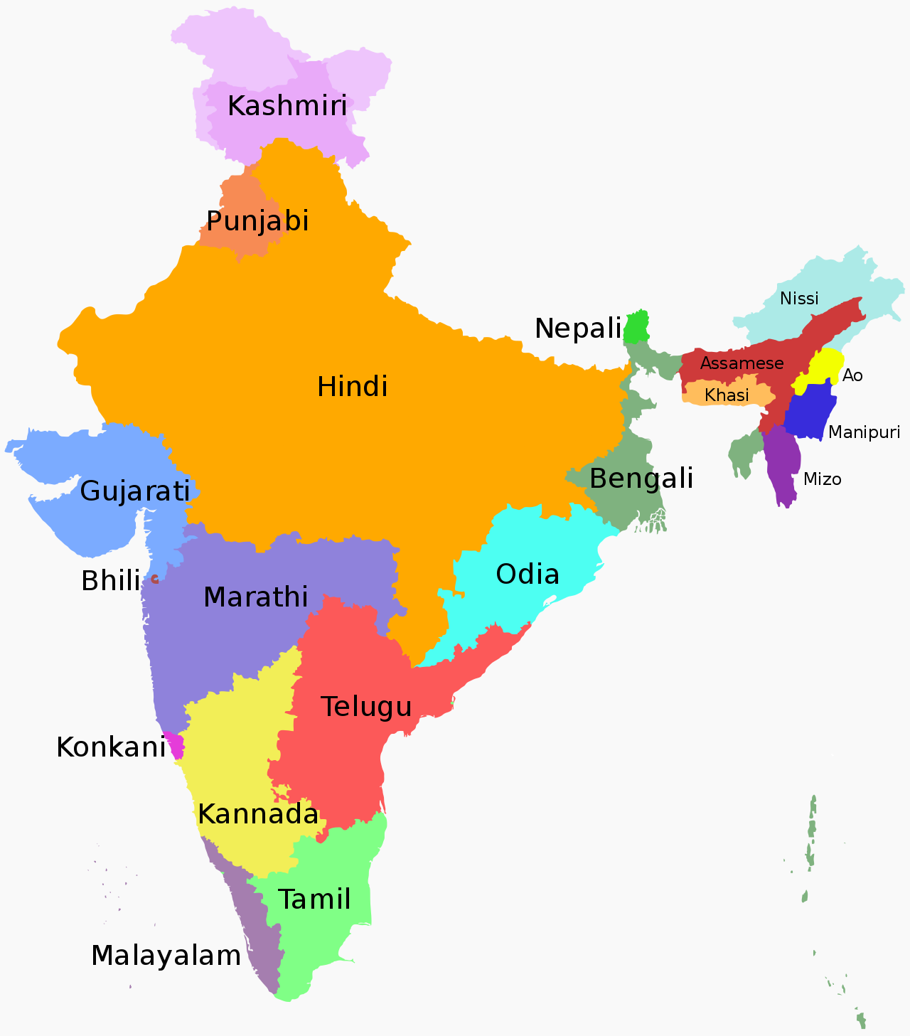 States And Union Territories Of India By The Most Commonly Spoken L1 First Language 1 A Language Map India Map Indian Constitution