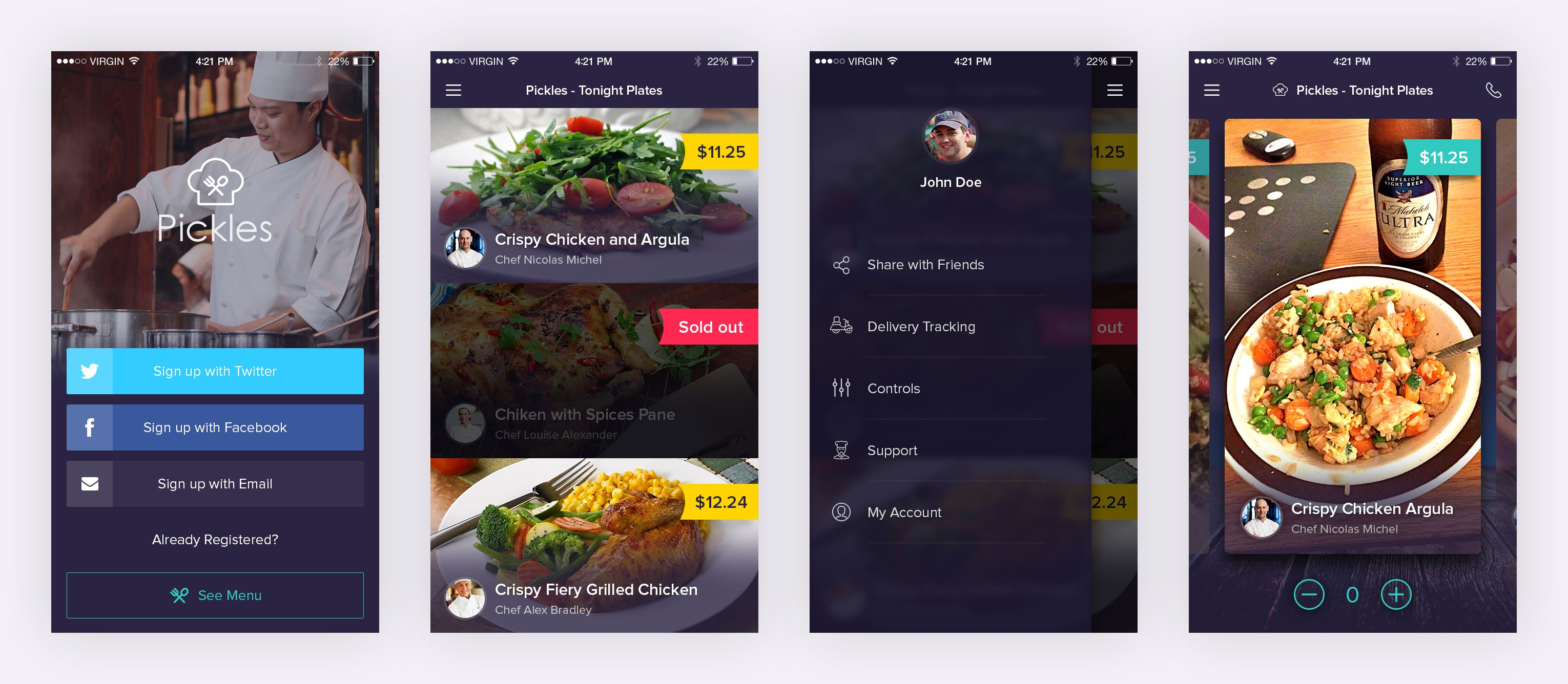 Free restaurant app ui freebies pinterest