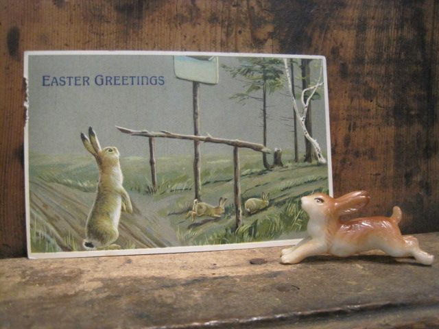 Vintage Easter Postcard and Bunny.  Happy Easter!