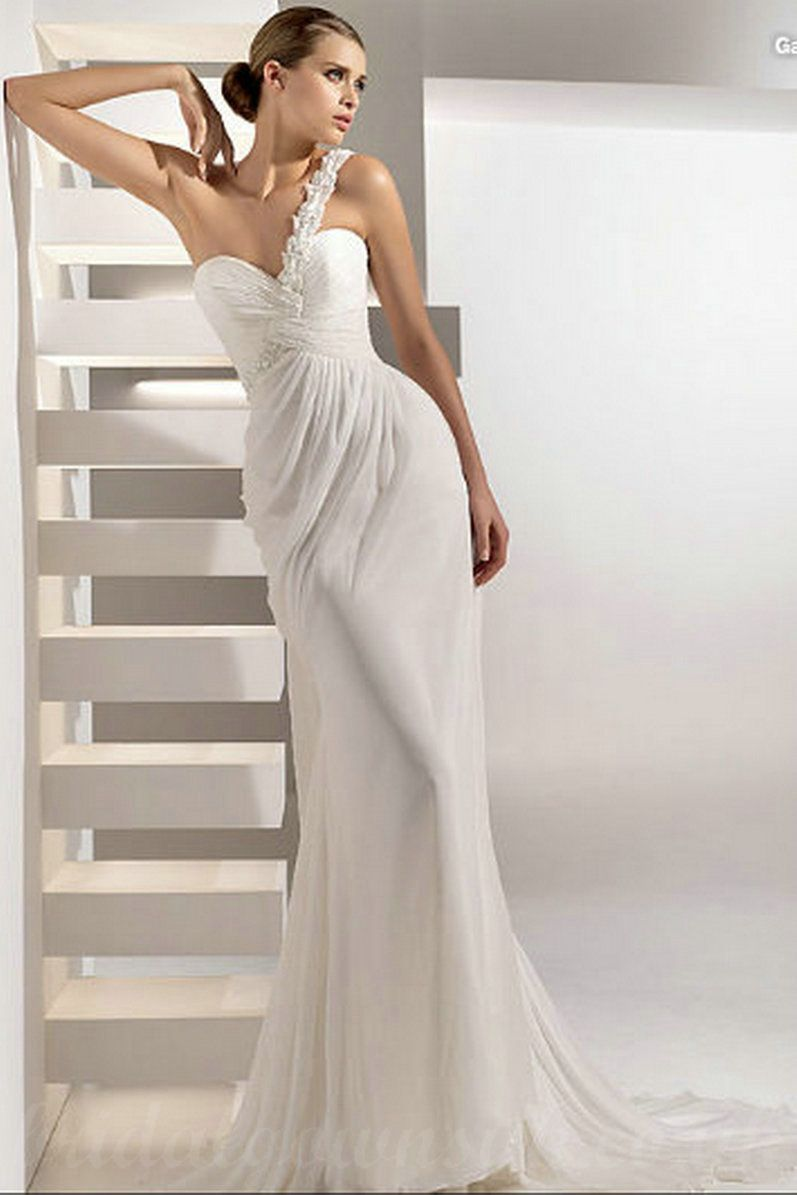 One shoulder chiffon slinky floral trimed formal customized one shoulder chiffon slinky floral trimed formal customized wedding dresses ombrellifo Gallery