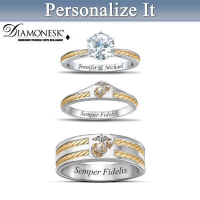 Love, honor and protect with USMC spirit in this custom wedding ring set. Shop Now!