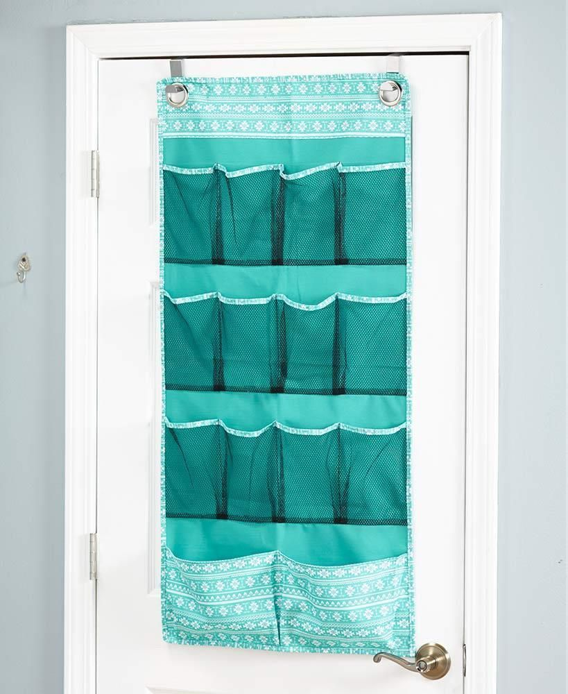 NEW Over the Door Multi Use Storage Tribal Teal Blue Closet Bath ...