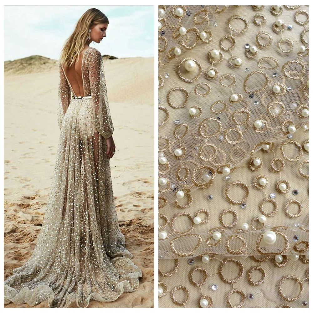 Patio perlas piedras de oro metálico bordado pesado vestido de novia ...