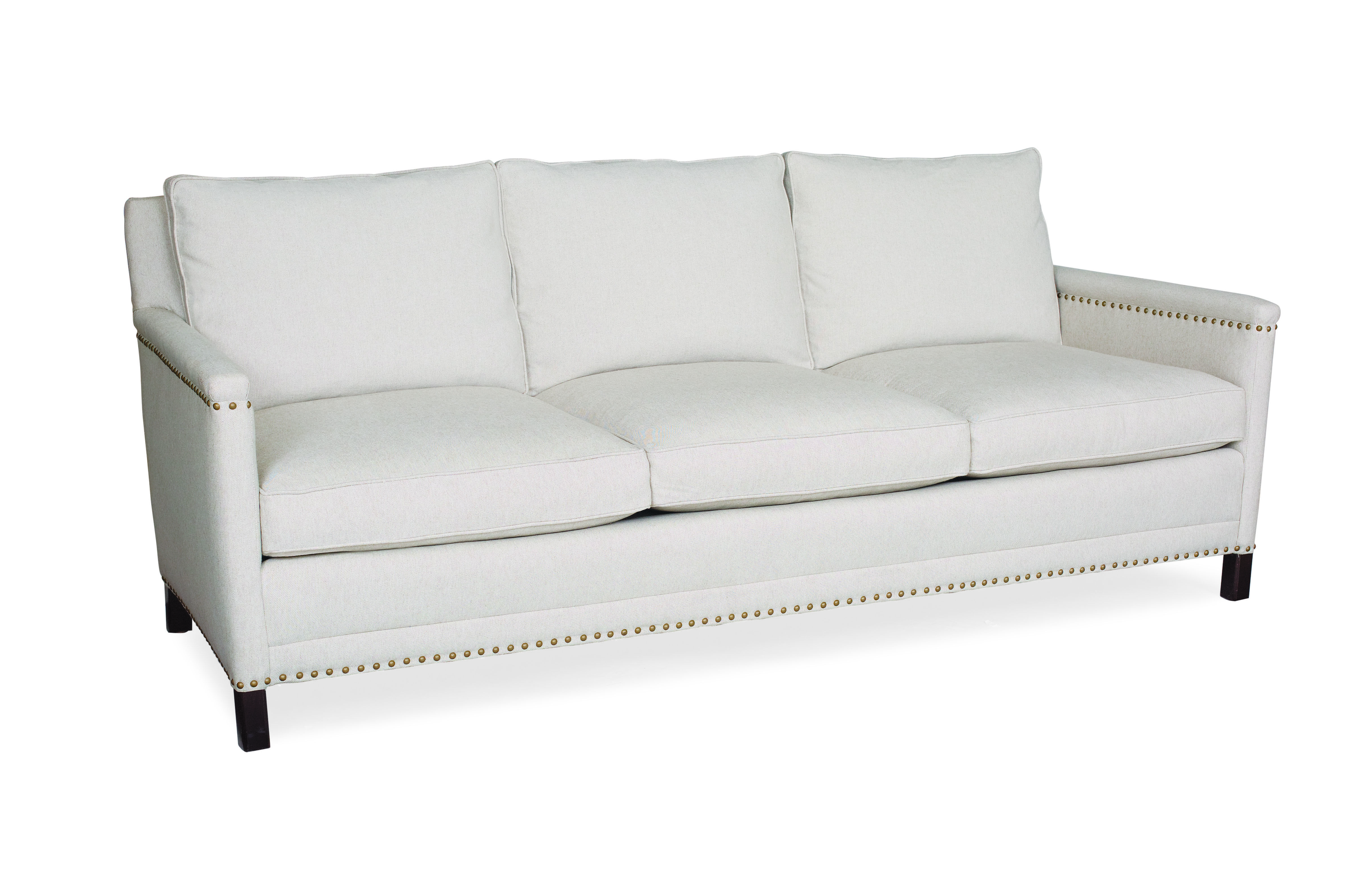 Lee Industries Sofa In Basket Natural With Small Nail Head Detail