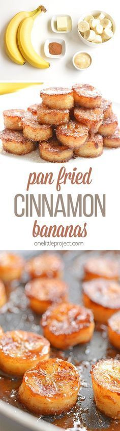 These pan fried cinnamon bananas are so easy to make and taste SO GOOD! They're amazing (seriously AMAZING) on ice cream or pancakes, or just as a snack. Soft and sweet on the inside and caramelized on the outside. Mmmm...