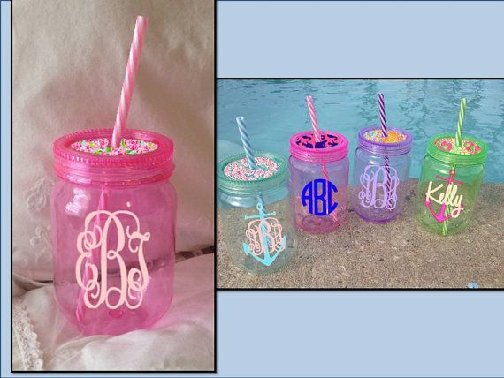 Monogrammed Pink Mason Jar with Lilly Pulitizer by moorecoolers
