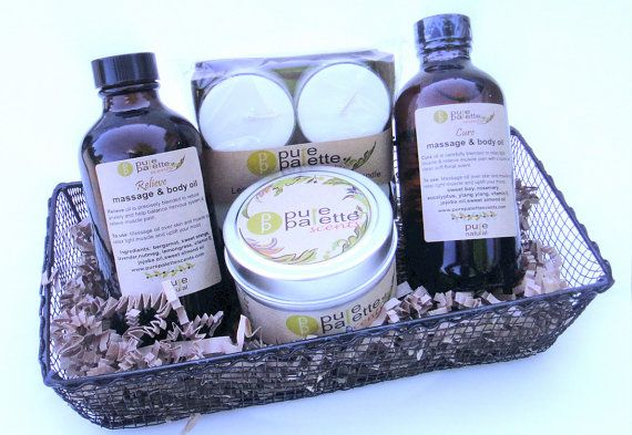 Aromatherapy Massage Oil and Soy Candles Gift Set by PurePalette.