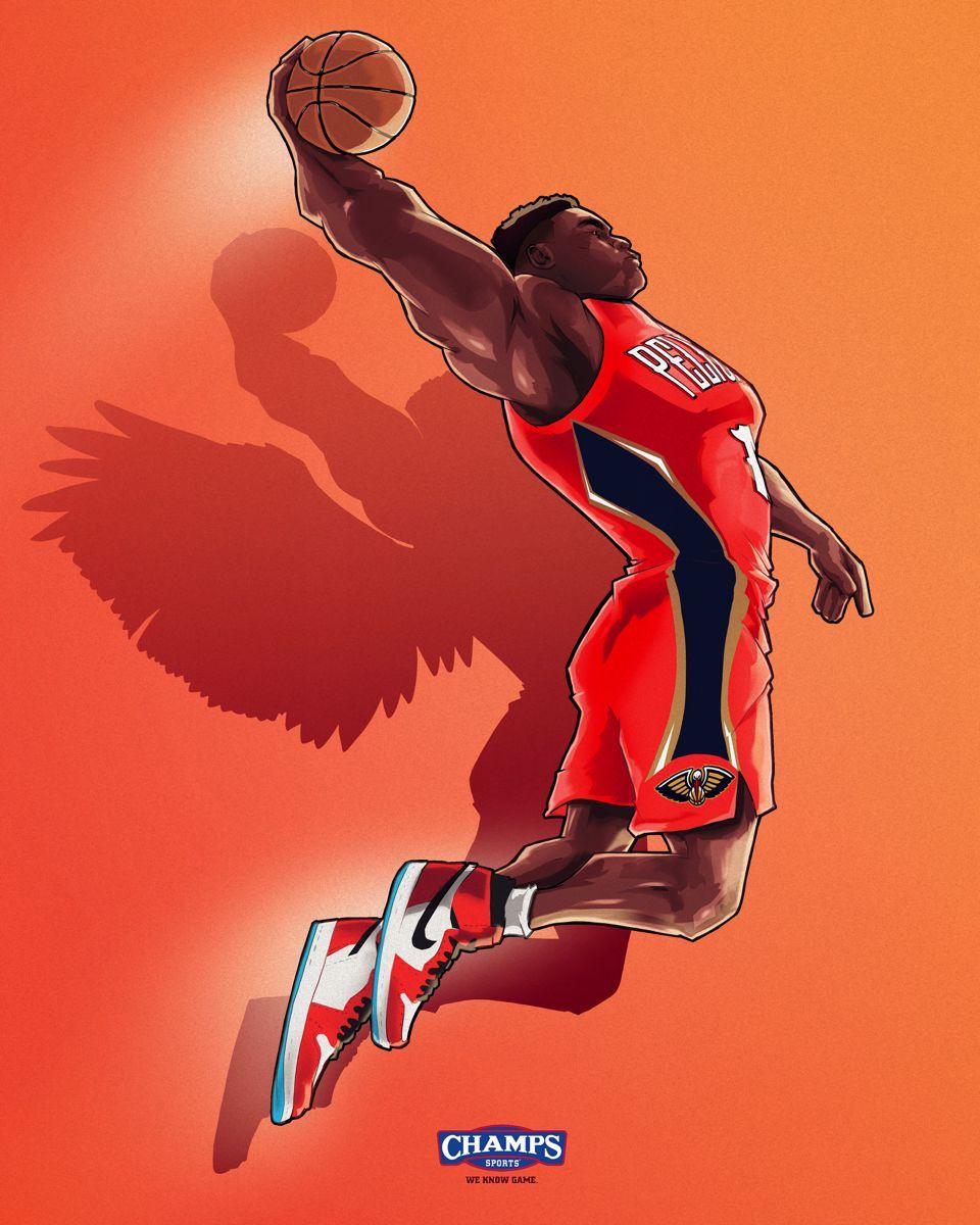 Zion Williamson In 2020 Nba Pictures Nba Basketball Art Nba Art