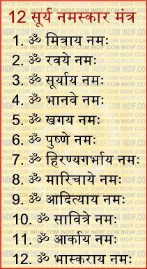 ii surya namaskara mantras ii सूर्य नमस्कार मंत्र  mantras